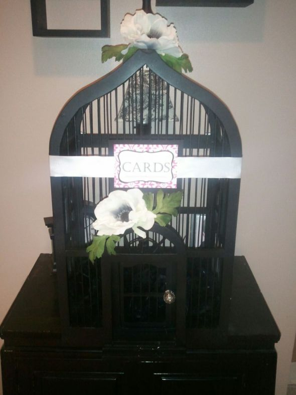 Birdcage for Cards...Flowers or no? :  wedding birdcage cards gifts black pink white diy Bircage   Cards 4
