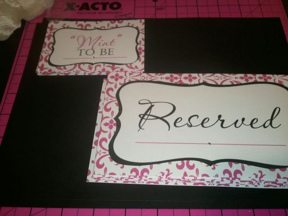 This seat is RESERVED :) :  wedding reserved signs mint to be sign black pink white diy RESERVED MINT TO BE SIGNS