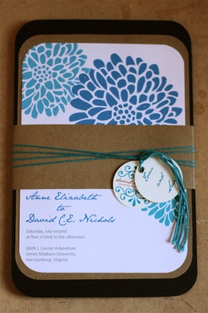 diy chocolate brown and flower invites! :  wedding brown diy invitations teal IMG 1570