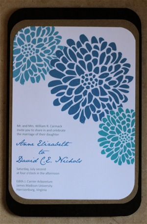 diy chocolate brown and flower invites! :  wedding brown diy invitations teal IMG 1572