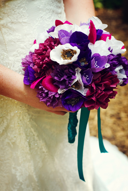 DIY crepe paper bouquet =) :  wedding bouquet crepe paper flowers flowers purple teal Picture 1