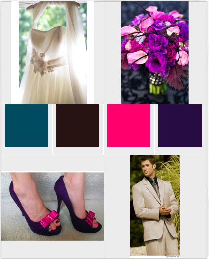 Need help with teal chocolate purple fuschia decor wedding teal