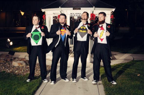 My Super Hero Groom and Groomsmen wedding super hero Superhero