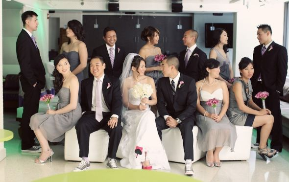 Here are pictures of a black and grey bridal party and an all black bridal