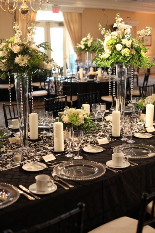 Black Ivory Damask Table Runners wedding damask black ivory reception