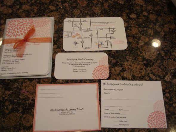 Coral Chrysanthemum Invitations