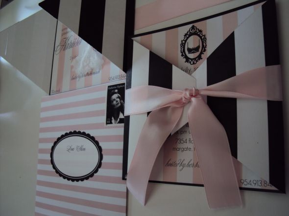 Parisian Lingerie Shower invites :  wedding black diy invitation invitations lingerie paris pink shower white DSC00008