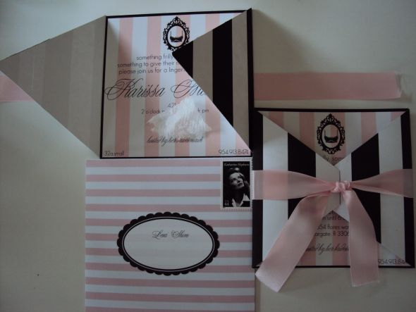 Parisian Lingerie Shower invites :  wedding black diy invitation invitations lingerie paris pink shower white DSC00009