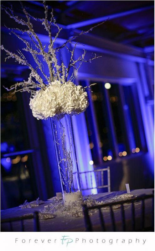 branch centerpiece help needed wedding Winter Wedding Tall Centerpiece