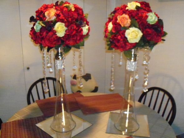 I have two Large Centerpices that I have hand made Wedding Centerpieces
