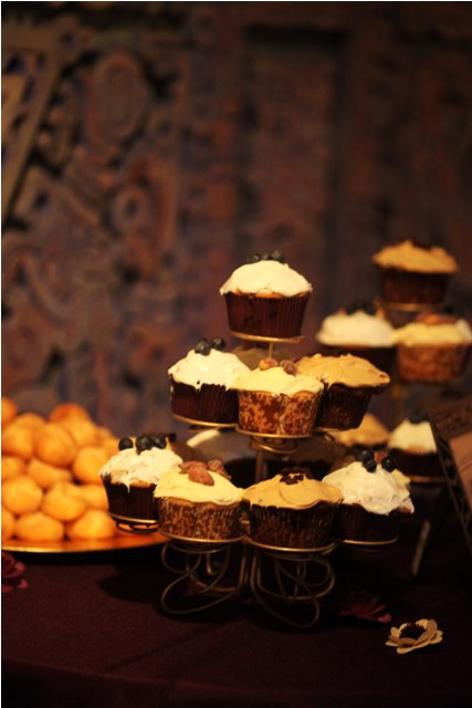 Mocha, Almond, and Blueberry Cupcakes :  wedding brown cake cupcake stand cupcake tree cupcakes gold ivory Cupcakes