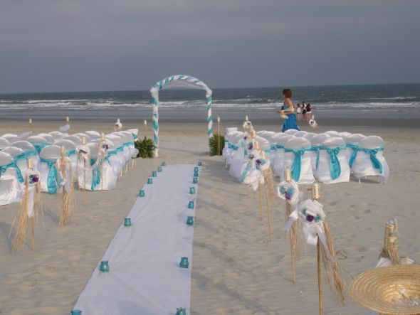 Pool blue table linens and chair sashes wedding pool pool blue turquoise