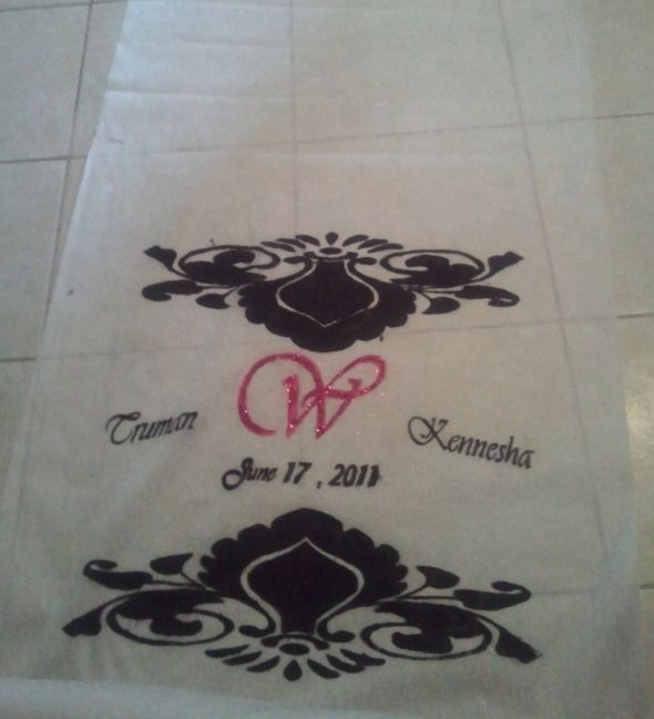 Black White Fuschia Aisle Runner wedding black pink white diy Aisle