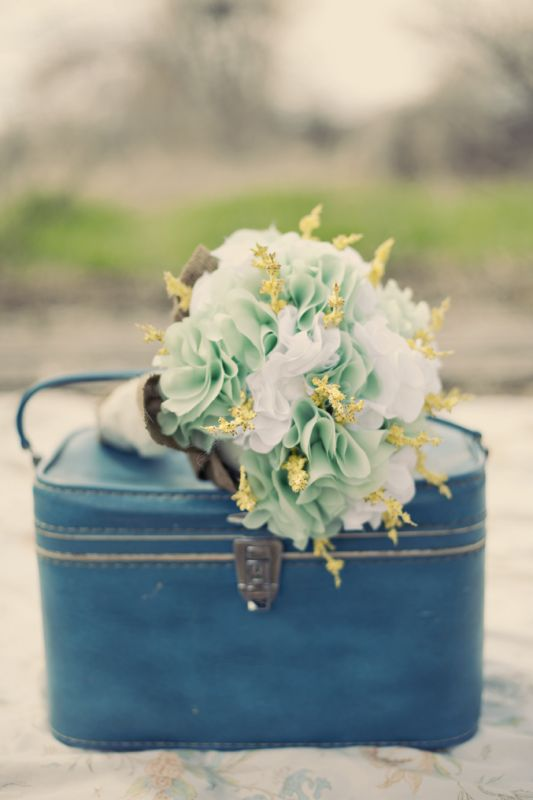 bridal bouquet wedding teal green white ivory yellow bridesmaids bouquet