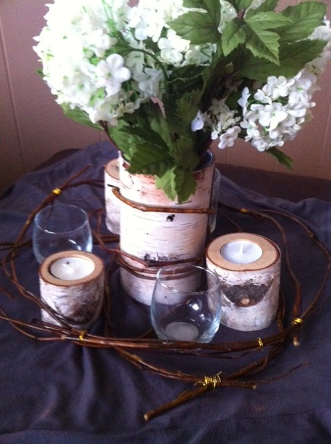 VOTE wedding gold birch centerpiece Centerpiece
