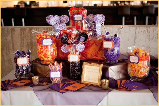Audhilds Blog The Bride Wears A White Western Wedding Gown With Purple And Orange Table Decorations