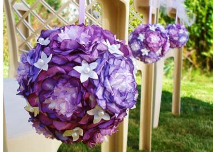 Flower Pomander Balls wedding purple ceremony reception Copy Of Pomander