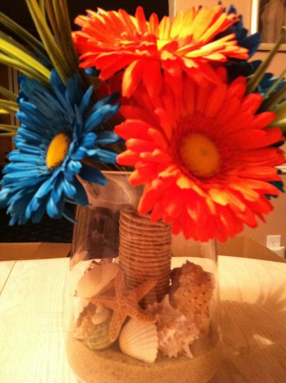 Beach Themed Centerpieces wedding beach sea shells engagement flowers diy