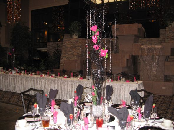 Crystals Strands and tall vases wedding centerpiece crystals and curly