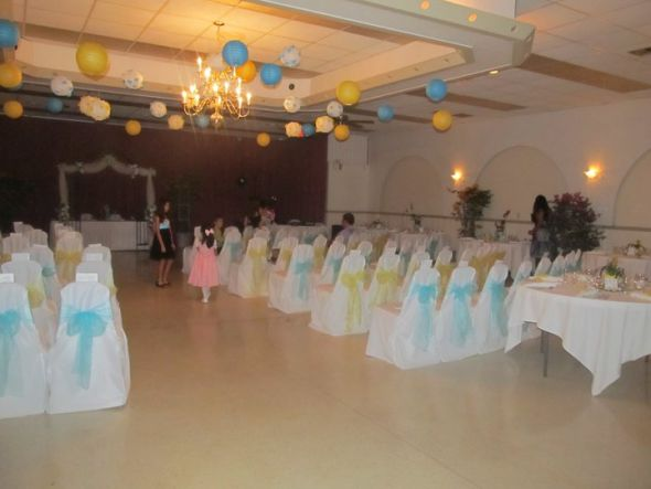 Small chinese lanterns wedding teal yellow ceremony reception 267785