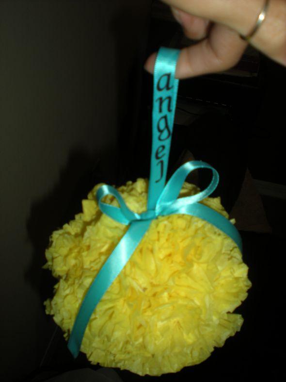Flowergirl pomander wedding teal yellow diy DSCN6364