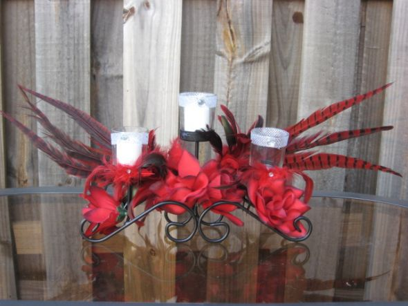 used red black white wedding decorations