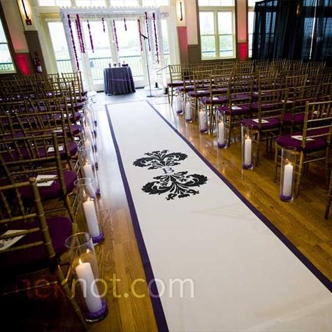 Aisle Runner wedding black blue purple white 2345