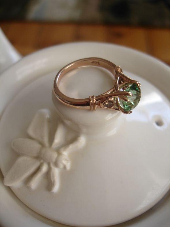 my engagement ring tourmaline chagne diamonds in