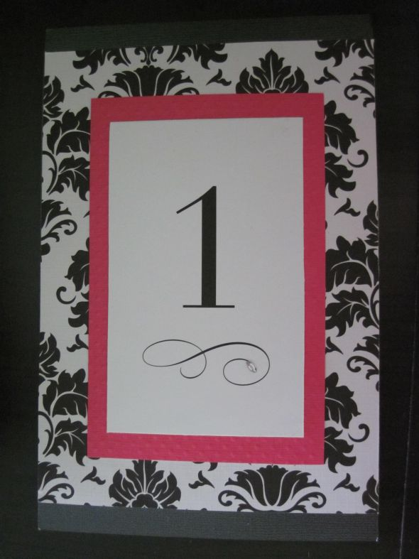 Damask Table Numbers (Fushia & Black)