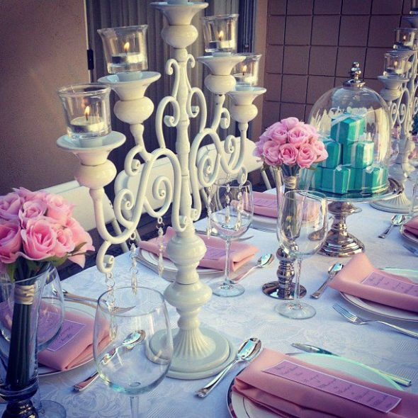 Pretty in Pink Bridal Shower Inspiration wedding cake tiffany blue pink