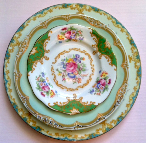 Mismatched China :  wedding green mismatched china reception shabby chic wedding plates Set2