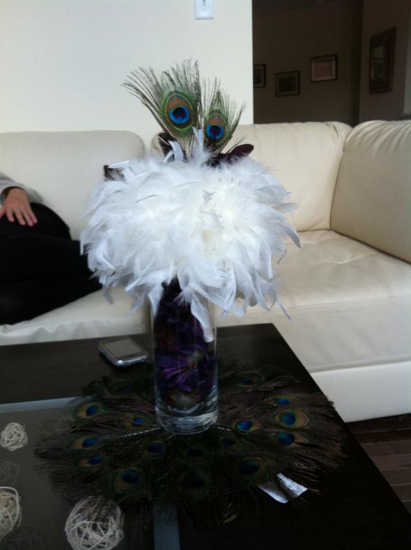 My centerpiece ideatoo much peacock wedding flowers Centerpiece1