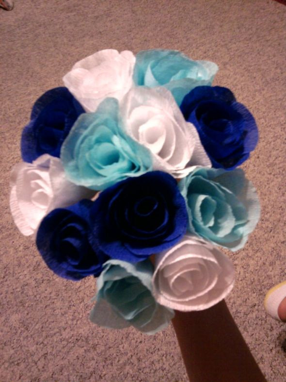 wedding bouquet crepe paper flowers diy blue navy white bridesmaids