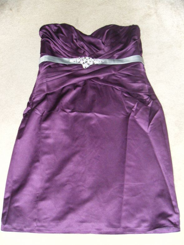 Wanted Jr Bridesmaid Dress Plum or Pewter wedding purple silver