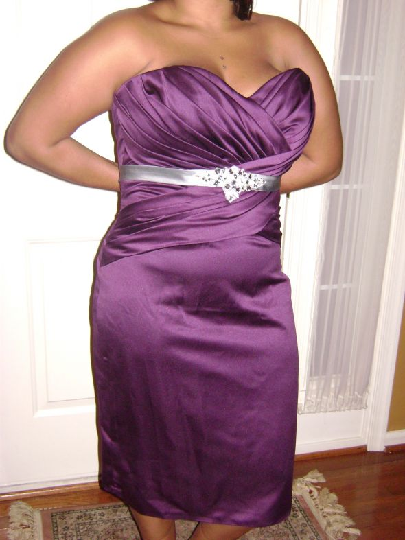 Aubergine Impressions Bridesmaid Dress for Sale with tags wedding purple