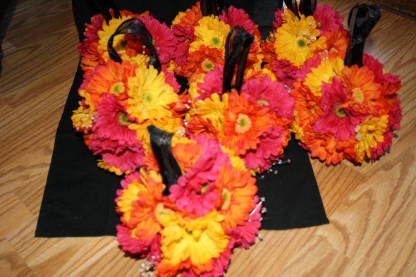 Orange Fuchsia Yellow Gerber Daisy KISSING BALLS 7 wedding kissing balls