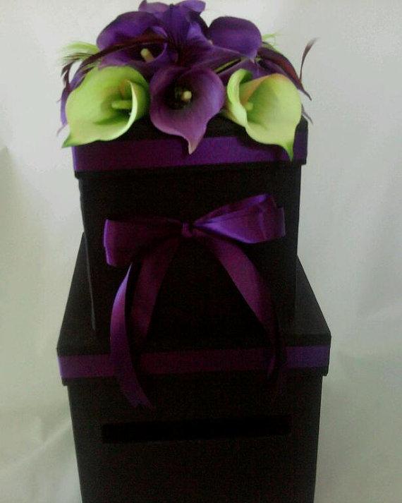 Black purple and green wedding card box Beautiful wedding cardbox black