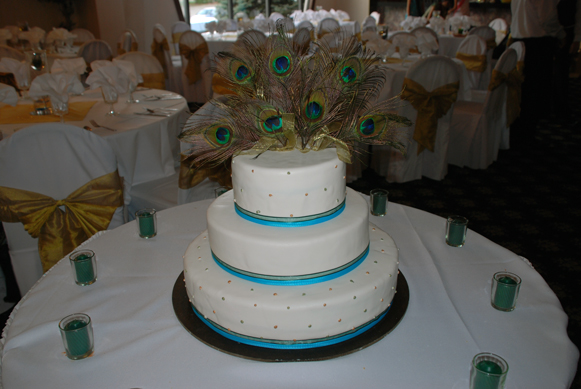 wedding peacock cake wedding cake blue green teal peacock Peacock Theme