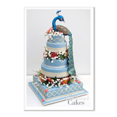 wedding peacock cake wedding cake blue green teal peacock Ron Ben Israel