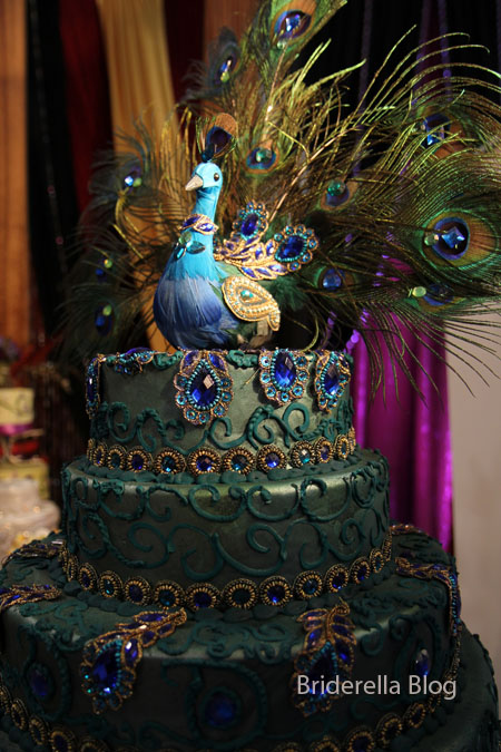 wedding peacock cake wedding cake blue green teal peacock Wedding Cake
