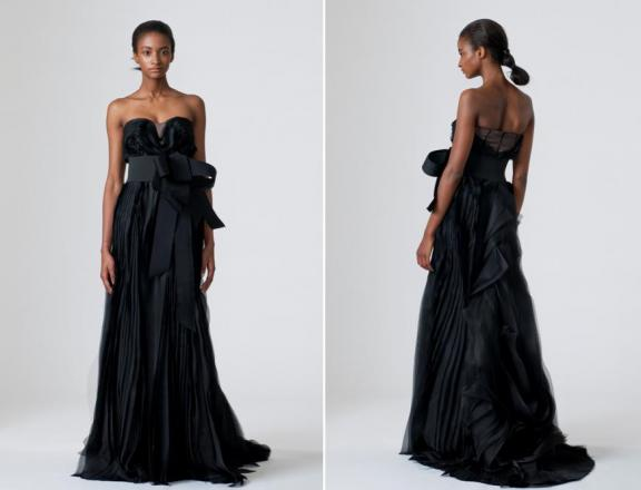 Elegant Black Dress wedding Black Strapless Bridal Dress By Vera Wang