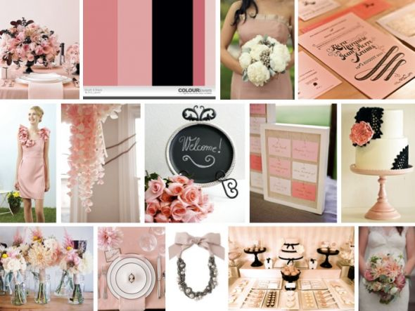what colors wedding colors dress Blush Pink And Black Modern Wedding
