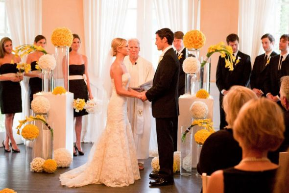 Colors Advice wedding Yellow Black White Wedding At The Parker Palm
