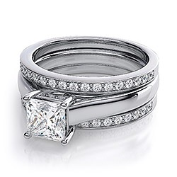 Double wedding bands on solitaire ring?? Pics please!