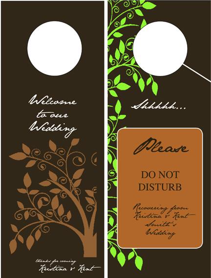 Door hangers for the hotel rooms at our wedding weddingbee photo gallery - Diy do not disturb door hanger ...