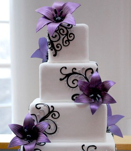 purple and green wedding cakes