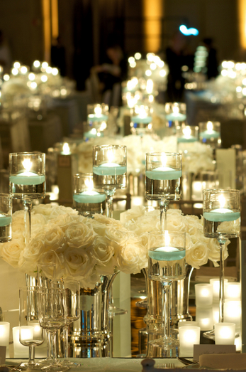 Peonies Mirrors and Candles wedding centerpieces candles mirrors