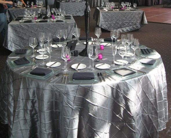132 Silver Platinum Pintuck tablecloths 4 wedding pintuck silver