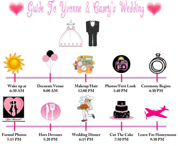 Wedding Timeline wedding pink inspiration diy WeddingTimeline