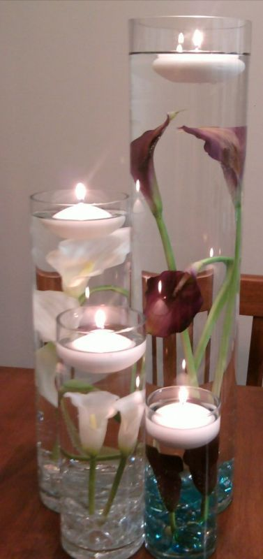 Submerged Calla Lilies :  wedding calla centerpiece cylinder vase purple real touch calla reception silver submerged submerged calla lilies submerged flowers teal white Calla